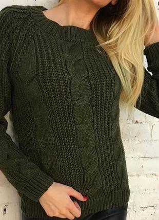 Женский шерстяной вязаный свитер пуловер джемпер оверсайз