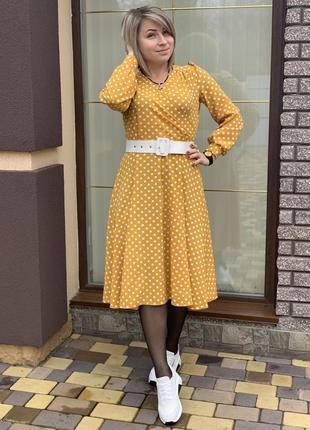 Супер платье в горошек горчичного цвета тренд весна лето 2020
