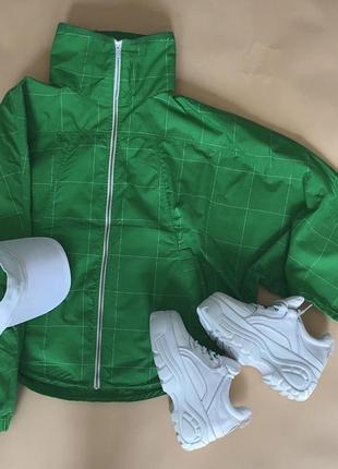 Зелёная спортивна ветровка adidas original