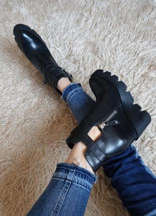 Шикарные эксклюзивные качественные кожаные ботинки туфли на тракторной платформе ash
