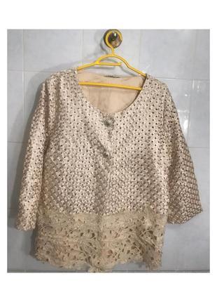 Бежевый нарядный пиджак женский жакет с длинными рукавами