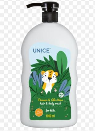 Отличный детский шампунь для волос и тела unice с экстрактом банана и алоэ вера юнайс