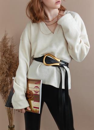 Ремень кожаный женский bottega veneta золотая пряжка подкова c двойным ремешком длинный