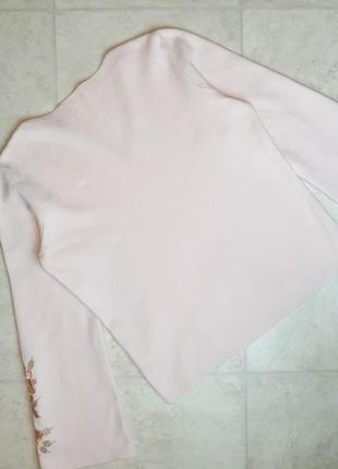 1+1=3 нежно-розовый плотный свитер marks&spencer с вышитыми рукавами, размер 46 - 483 фото