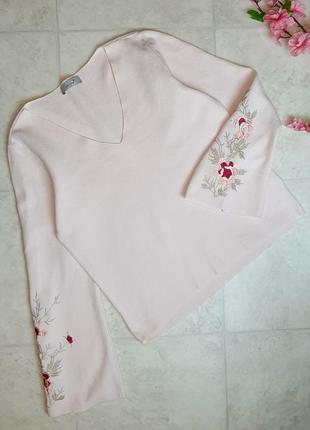 1+1=3 нежно-розовый плотный свитер marks&spencer с вышитыми рукавами, размер 46 - 486 фото