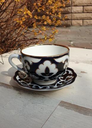 Чашка с блюдцем пахтагуль золотая синяя. ташкент, узбекистан