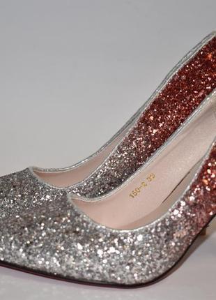 Туфли красно-серебристые 36-40р