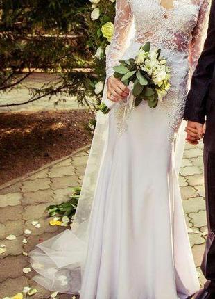 Свадебное платье эксклюзивное а-силуэт
