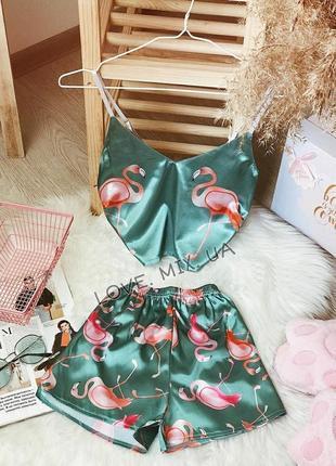 Пижама женская комплект атлас шелк шовк піжама шёлк лисичка полиция фламинго авокадо