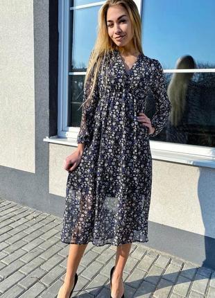 Роскошное платье миди с оригинальным цветочным рисунком