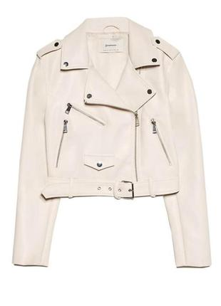 Белая женская косуха, кожанка{куртка} bershka