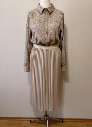 Шикарнейший комплект из юбки плиссе и блузки-рубашки