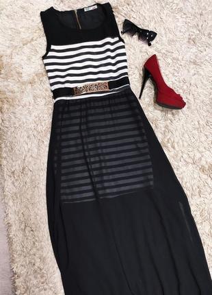 Летнее платье в полоску в пол