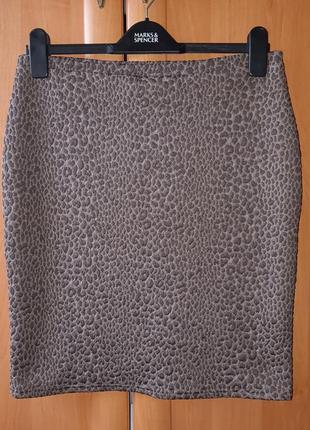 Красивая трикотажная фактурная юбка в леопардовый принт