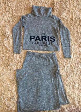 Mari time новый теплый костюм юбка длиная кроп топ