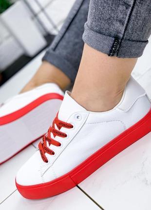 Кеды женские yota белый + красный ❤