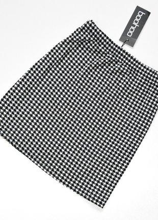 Стильная юбка,черно-белая юбка,принт гусиная лапка