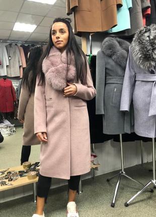 Пальто зима мех песец