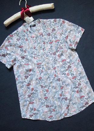 Классная хлопковая футболка блуза в цветочный принт на пуговицах  happy by damart.