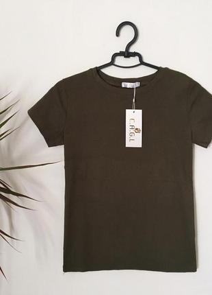 Новая качественная коттоновая футболка цвет хаки