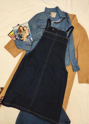 Сарафан комбинезон платье джинсовое мили синее большое батал трапеция denim