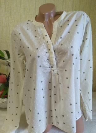 Легкая хлопковая рубашка в горошек