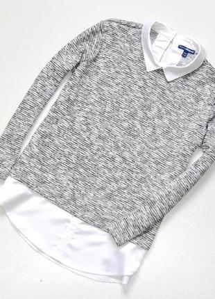 Классный джемпер с вставками из блузы