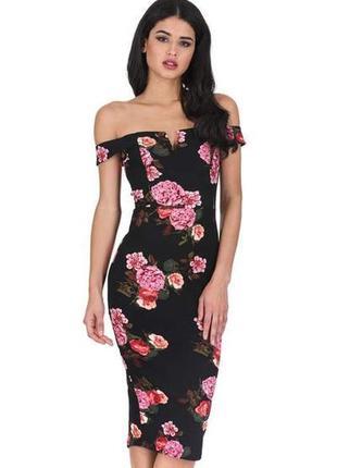 Ax paris платье чёрное в цветочный принт миди по фигуре открыты плечи2 фото