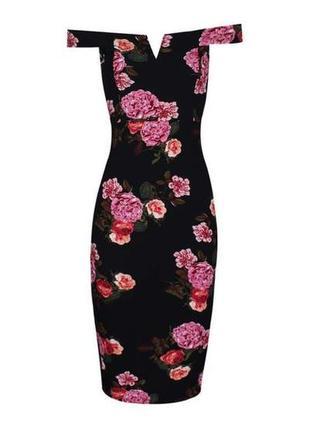 Ax paris платье чёрное в цветочный принт миди по фигуре открыты плечи4 фото