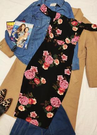 Ax paris платье чёрное в цветочный принт миди по фигуре открыты плечи5 фото