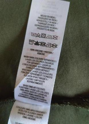 Удлиненная рубашка из вискозы цвета хаки6 фото