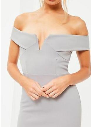 Missguided новое с биркой платье серое по фигуре с открытыми плечами карандаш футляр2 фото