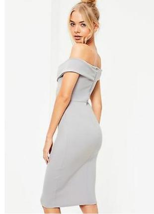 Missguided новое с биркой платье серое по фигуре с открытыми плечами карандаш футляр3 фото