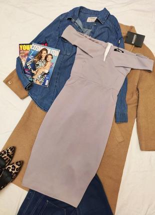 Missguided новое с биркой платье серое по фигуре с открытыми плечами карандаш футляр4 фото