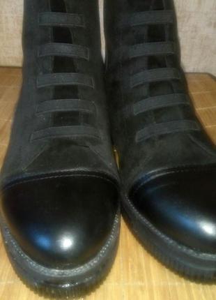 Зимние ботинки натуральная кожа  со вставкой из натуральной замши