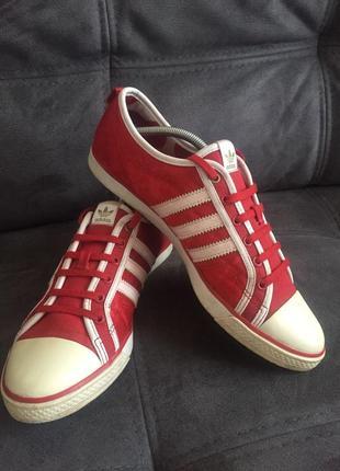 Adidas оригинал! атласные красные кеды кросовки  р.6 /39 (25 см)