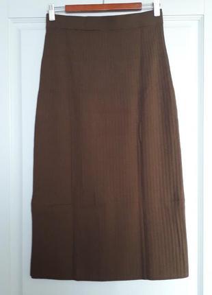 Uniqlo япония трикотажная юбка карандаш с разрезами по бокам