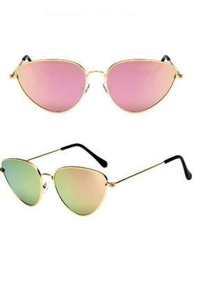 Очки стильные ретро винтаж зеркальные розовые кошачий глаз+фото на лице