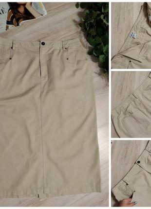 Отличная коттоновая юбка карандаш миди бежевая