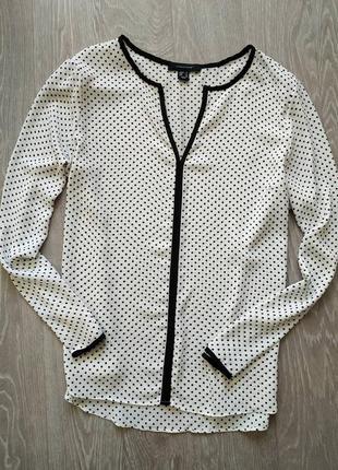 Шифоновая блуза в горошек черно-белая
