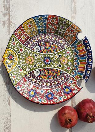 """Тарелка """"рыбка"""" d 27 cm ручной работы. узбекистан (4)"""