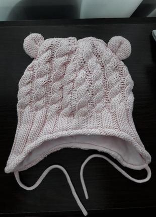 🌿демисезонная вязаная шапочка на хлопковой подкладке