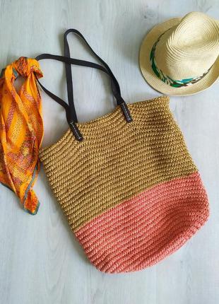 Плетена соломяна сумка gap та шляпа канотье