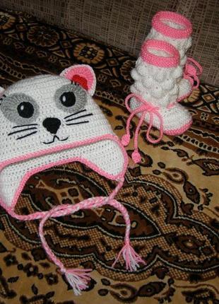 Вязаная шапка шапочка кошка