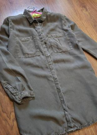 Рубашка удлинённая хаки оверсайз h&m