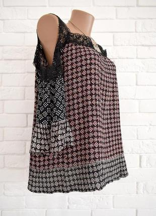 Стильная блуза из вискозы с кружевом m&s uk20 новая