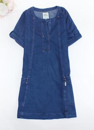 Джинсовое платье трапеция с боковыми карманами , деним