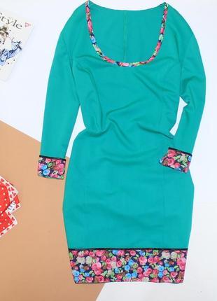 Очень красивое приталенное платье зеленое в цветы
