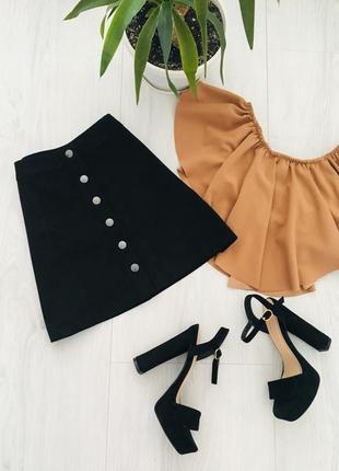 Трендовая замшевая юбка спереди на пуговицах