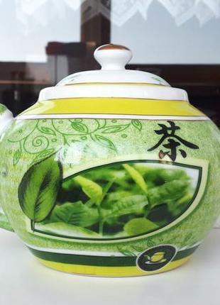 Фарфоровый чайник заварник avella зеленый заварник фарфор